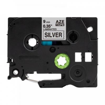 Kompatibilní páska s Brother TZ-921 / TZe-921, 9mm x 8m, černý tisk / stříbrný podklad
