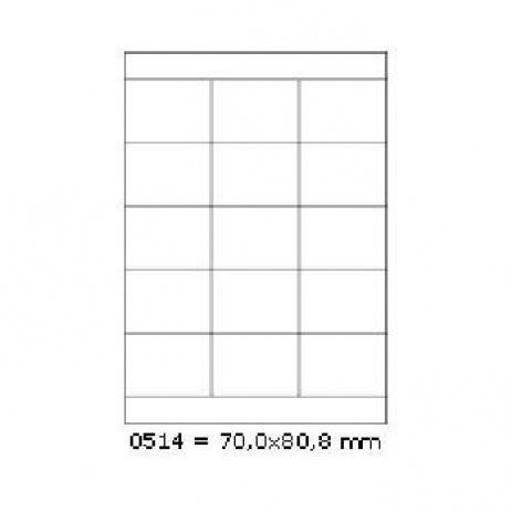 Samolepiace etikety 70 x 50,8 mm, 15 etikiet, A4, 100 listov