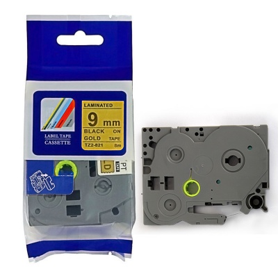 Kompatibilní páska s Brother TZ-821 / TZe-821, 9mm x 8m, černý tisk / zlatý podklad