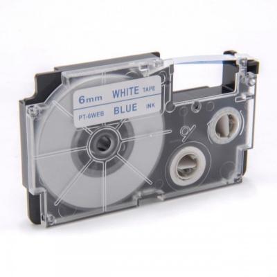 Kompatibilní páska s Casio XR-6WEB 6mm x 8m modrý tisk / bílý podklad