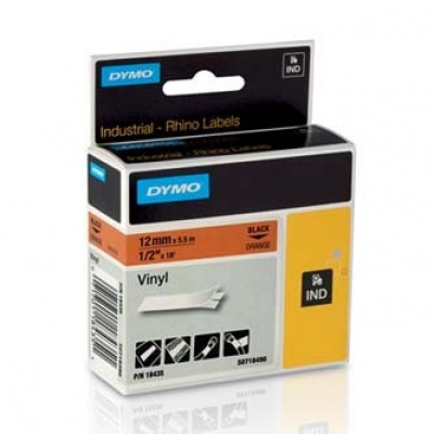 Dymo Rhino 18435, S0718490, 12mm x 5,5m černý tisk / oranžový podklad, originální páska