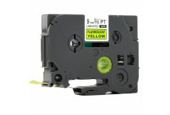 Kompatibilní páska s Brother TZ-C21/TZe-C21, signální 9mm x 8m, černý tisk/žlutý podklad