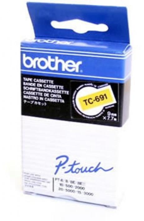 Brother TC-691, 9mm x 7,7m, fekete nyomtatás / sárga alapon, eredeti szalag