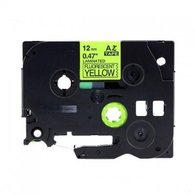 Kompatibilní páska s Brother TZ-C31/TZe-C31, signální 12mm x 8m, černý tisk/žlutý podklad
