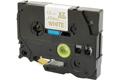 Brother TZe-R234, 12mm x 4m, zlatý tisk / bílý podklad, textilní stuha, kompatibilní páska