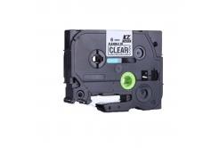 Kompatibilní páska s Brother TZ-FX111 / TZe-FX111, 6mm x 8m, flexi, černý tisk / průhledný podklad