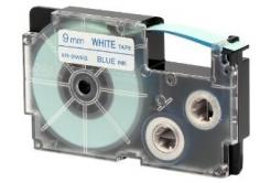 Casio XR-9WEB1, 9mm x 8m, modrý tisk/bílý podklad, originální páska