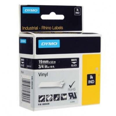 Dymo Rhino 1805436, 19mm x 5,5m, bílý tisk/černý podklad, originální páska