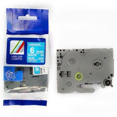 Kompatibilní páska s Brother TZ-515 / TZe-515, 6mm x 8m, bílý tisk / modrý podklad