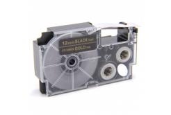 Kompatibilní páska s Casio XR-12BKG 12mm x 8m zlatý tisk / černý podklad