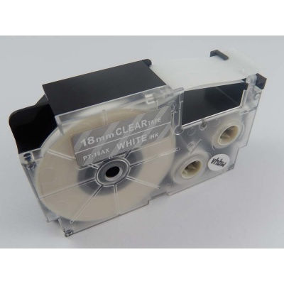 Kompatibilní páska s Casio XR-18AX 18mm x 8m bílý tisk / průhledný podklad
