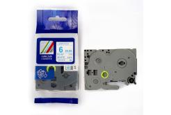 Kompatibilní páska s Brother TZ-213 / TZe-213, 6mm x 8m, modrý tisk / bílý podklad