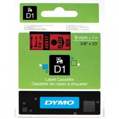 Dymo D1 40917, S0720720, 9mm x 7m, černý tisk / červený podklad, originální páska