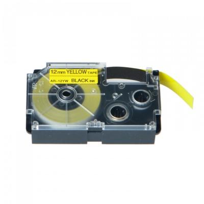 Kompatibilní páska s Casio XR-12YW1, 12mm x 8m černý tisk / žlutý podklad