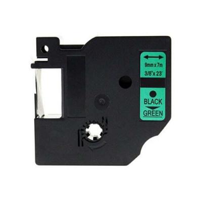 Kompatibilní páska s Dymo 40919, S0720740, 9mm x 7m černý tisk / zelený podklad