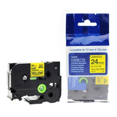 Kompatibilní páska s Brother TZ-S651/TZe-S651 24mm x 8m extr.adh. černý tisk/žlutý podklad