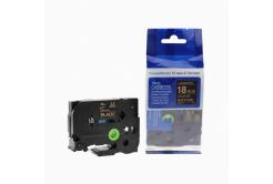 Kompatibilní páska s Brother TZ-344 / TZe-344, 18mm x 8m, zlatý tisk / černý podklad