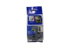 Kompatibilní páska s Brother TZ-364 / TZe-364, 36mm x 8m, zlatý tisk / černý podklad
