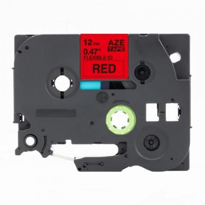 Kompatibilní páska s Brother TZ-FX435 / TZe-FX435, 12mm x 8m, flexi, bílý tisk / červený p