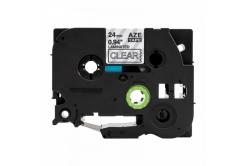 Kompatibilní páska s Brother TZ-S155 / TZe-S155, 24mm x 8m, extr.adh. bílý tisk / průhledn
