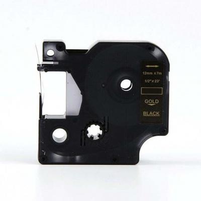 Kompatibilní páska s Dymo 45814, 19mm x 7m zlatý tisk / černý podklad