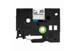 Kompatibilní páska s Brother TZ-S125 / TZe-S125, 9mm x 8m, extr.adh. bílý tisk / průhledný