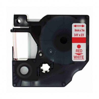 Kompatibilní páska s Dymo 40915, S0720700, 9mm x 7m červený tisk / bílý podklad