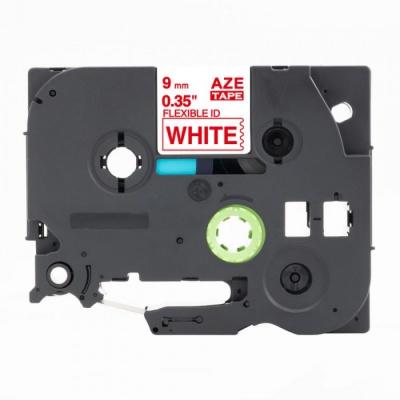 Kompatibilní páska s Brother TZ-FX222 / TZe-FX222, 9mm x 8m, flexi, červený tisk / bílý po
