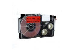 Kompatibilná páska s Casio XR-6RD1, 6mm x 8m čierny tisk / červený podklad