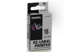 Casio XR-18SR1, 18mm x 8m, černý tisk/stříbrný podklad, originální páska