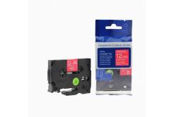 Kompatibilní páska s Brother TZ-435 / TZe-435, 12mm x 8m, bílý tisk / červený podklad