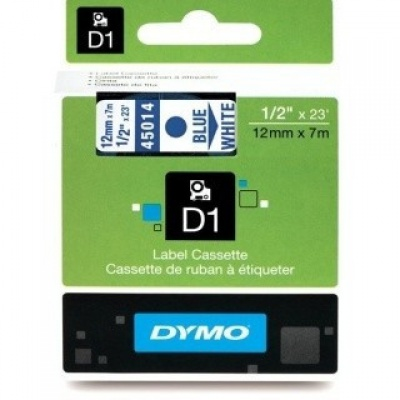 Dymo D1 45014, S0720540, 12mm x 7m modrý tisk / bílý podklad, originální páska