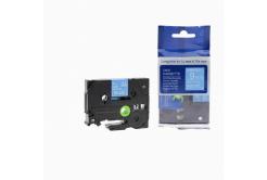 Kompatibilní páska s Brother TZ-525 / TZe-525, 9mm x 8m, bílý tisk / modrý podklad