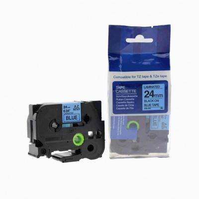 Kompatibilní páska s Brother TZ-551 / TZe-551, 24mm x 8m, černý tisk / modrý podklad