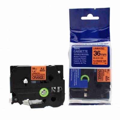 Kompatibilní páska s Brother TZ-B61/TZe-B61, signální 36mm x 8m, černý tisk/oranž. podklad