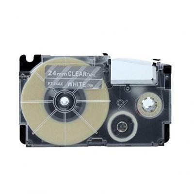 Kompatibilní páska s Casio XR-24AX 24mm x 8m bílý tisk / průhledný podklad