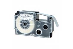 Kompatibilní páska s Casio XR-12AX 12mm x 8m černý tisk / průhledný podklad