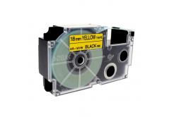 Kompatibilní páska s Casio XR-18YW1, 18mm x 8m černý tisk / žlutý podklad
