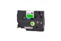 Kompatibilní páska s Brother TZ-D31/TZe-D31, signální 12mm x 8m, černý tisk/zelený podklad