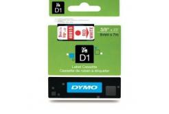 Dymo D1 40915, S0720700, 9mm x 7m, červený tisk / bílý podklad, originální páska