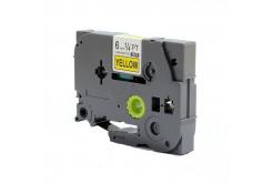 Kompatibilní páska s Brother TZ-S611/TZe-S611, 6mm x 8m,extr.adh. černý tisk/žlutý podklad