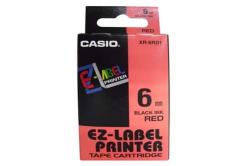 Casio XR-6RD1, 6mm x 8m, černý tisk/červený podklad, originální páska