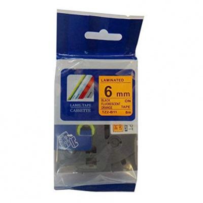Kompatibilní páska s Brother TZ-B11/TZe-B11, signální 6mm x 8m, černý tisk/oranž. podklad
