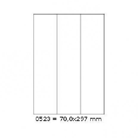 Öntapadós címkék 70 x 297 mm, 3 címkék, A4, 100 lap