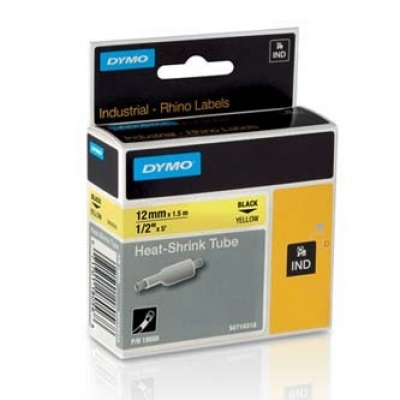 Dymo Rhino 18056, S0718310, 12mm x 1,5m černý tisk / žlutý podklad, originální páska