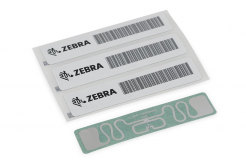 "Zebra 10025344 RFID Label, 110x13mm, Printable White PET, 3"" core, 869MHz, 1000/roll (Silverline Slim)"