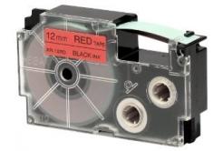 Casio XR-12RD1, 12mm x 8m, černý tisk/červený podklad, originální páska