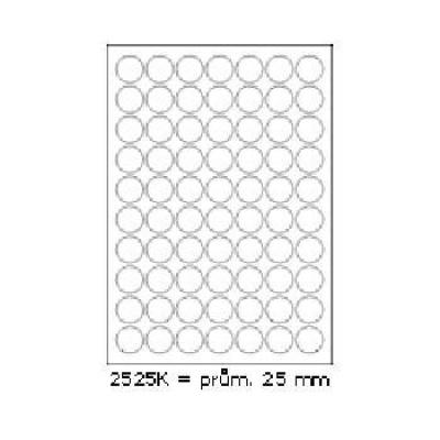 Samolepicí etikety 25 x 25 mm, 70 etiket, A4, 100 listů