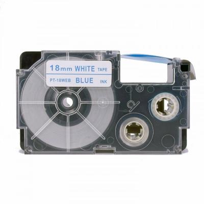 Kompatibilní páska s Casio XR-18WEB 18mm x 8m modrý tisk / bílý podklad