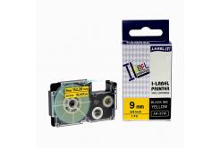 Kompatibilní páska s Casio XR-9YW1, 9mm x 8m černý tisk / žlutý podklad